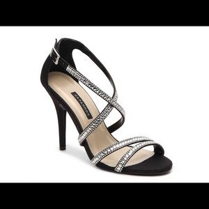 Shoes - Black and Silver strappy sandal heel